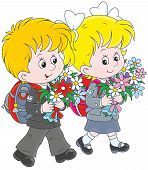 Schoolchildren going to school with their schoolbags and flowers poster