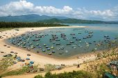 Amazing scene at fishing village in Phu Yen Viet Nam crowded of circle boat floating on water valley of fishing boat at Vietnam channel group of coracle in panoramic view beautiful seascape poster