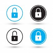 Flat padlock icons. Padlock buttons. Lock and unlock. Concept password, blocking, security. Lock symbol. Lock vector icon. Vector illustration. poster