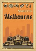 Vintage poster Grand Prix Melbourne Australia. Set symbols - racing sport car, cup, helmet, finish flag, wheel, champagne. Vector illustration for poster, logotype, web with old paper texture background poster