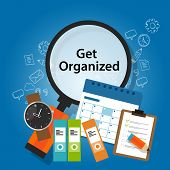 get organized organizing time schedule business concept productivity reminder concept vector poster