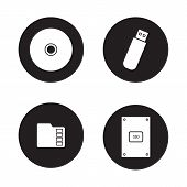 Data storage devices black icons set. External ssd hard drive, portable usb stick, micro sd mobile memory card, compact disc. Digital gadgets. White silhouettes illustrations. Vector logo concepts poster