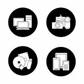 Consumer electronics black icons set. Web store categories, modern digital accessories, data storage devices, portable multimedia gadgets. White silhouettes illustrations. Logo concepts. Vector poster