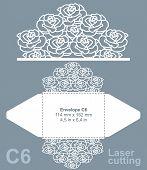Vector die cut envelope template for laser cutting. Invitation envelope C6. poster