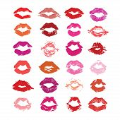 Lipstick kiss isolated on white lips set design element. Print of lips. Vector illustration. Marsala red pink beige fuchsia and purple lips imprints poster