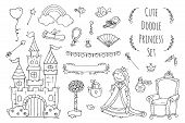 Cute cartoon princess collection with throne castle jewerly crown. Doodle fairytale set for kids. Hand drawn vector illustration isolated on white. All objects are grouped separately. poster