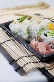 A take-out container of sushi rolls with regular garnishes and chopsticks. poster