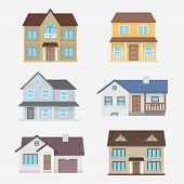 House vector illustration. Home exterior set. House icon in flat style. House modern and traditional. Residential house collection. House isolated the background. Home design. poster