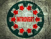 Introvert simple icon metaphor. image relative to human psychology. Concrete textured poster