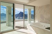 Interior,  wide room with marble bathroom modern design poster