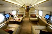 luxury interior of a private jet gulfstream g iv large cabin aircraft poster