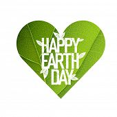 Earth Day Concept Design. Happy Earth Day logotype template. Green Leaf Veins Texture Heart Shaped. Isolated template poster