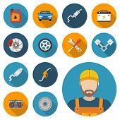 Car parts set of icons auto spare parts for repairs. Vector illustration. Engine wheel piston brake battery cooling absorber exhaust radiator refueling nozzle oil canister. Icon mechanic. poster