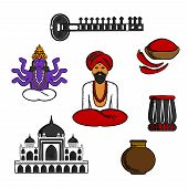 Indian monk sadhu in national dress with god vishnu, fresh red chilli pepper and bowl of chilli powder, vase and  ancient temple, sitar and tabla drum. Culture, religion and travel symbols poster