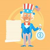 Vector Illustration, Uncle Sam Holds Scroll Paper and Money, format EPS 8 poster