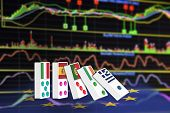 Five dominoes of EU countries that seem to have financial problem stand upright in front of the display of financial instruments with various type of indicators for stock market technical analysis. poster