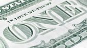 """The United States one dollar bill, a macro closeup emphasizing the inscription which has been changed to """"In Love We Trust"""" on the back. poster"""