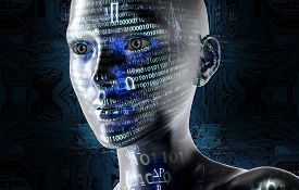 Electronic Robot Or Female Cyborg Isolated On Isolated