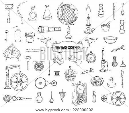 Vintage science objects set in steampunk style. Scientific equipment for physics, chemistry, geography, pharmacy . Isolated elements. Vector illustration