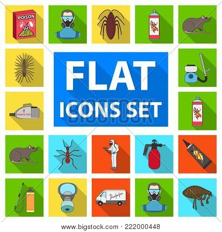 Pest, poison, personnel and equipment flat icons in set collection for design. Pest control service vector symbol stock illustration.