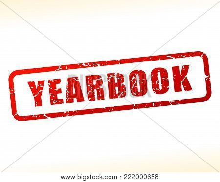 Illustration of yearbook text buffered on white background