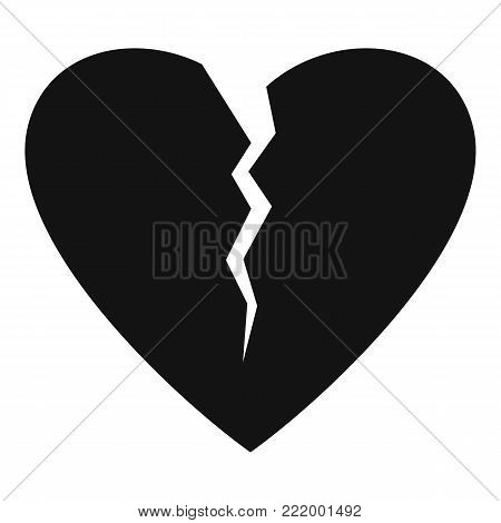 Broken heart icon. Simple illustration of broken heart vector icon for web.
