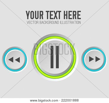 Web music template with gray round control buttons and colorful rings on light background isolated vector illustration