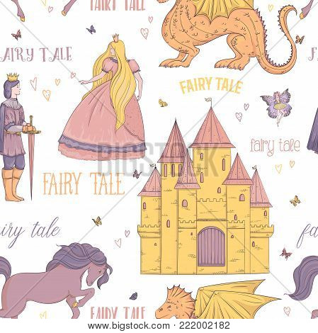 Seamless pattern with prince, princess, castle, dragon, fairy, horse. Fairy tale theme. Isolated objects. Vintage vector illustration