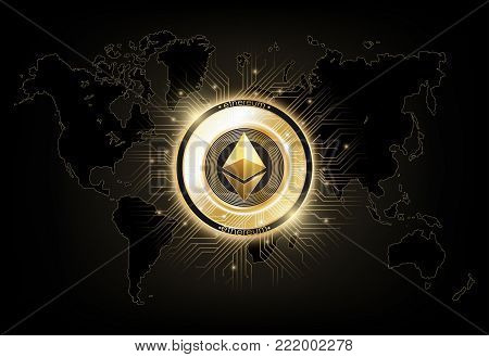 Ethereum digital currency, futuristic digital money on world map, gold technology worldwide network concept, vector illustration