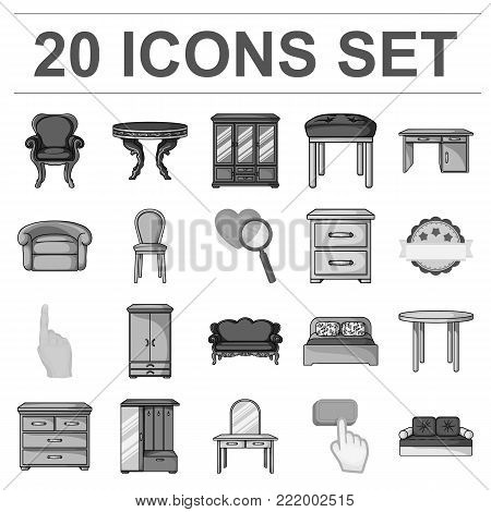Furniture and interior monochrome icons in set collection for design.Home furniture vector symbol stock  illustration.