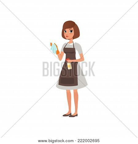 Cartoon woman character holding rag and spray bottle with cleaning liquid. Hotel maid service. Domestic worker. Girl in gray dress, brown apron and orange glove. Flat vector design isolated on white.