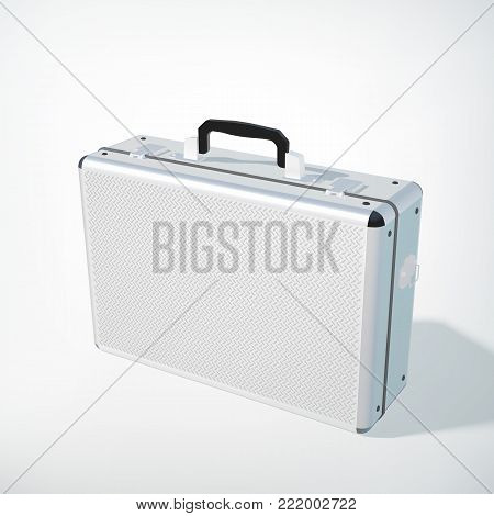 Closed metal business case concept with black handle in realistic style on white background isolated vector illustration