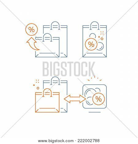 Earn points for purchase, loyalty reward program, marketing concept, shopping bags, vector line icon, thin stroke illustration