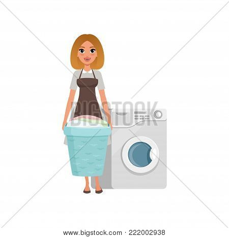 Cheerful girl standing and holding laundry basket near washing machine. Cartoon character of hotel maid in gray dress and brown apron. Domestic worker. Flat vector illustration isolated on white.