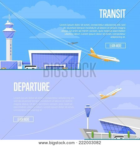 Aircraft transit and airport departure flyers. Modern glassy passenger terminal with flight control tower and plane arrival vector illustration. Worldwide traveling, commercial airline advertising.
