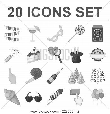 Party, entertainment monochrome icons in set collection for design. Celebration and treat vector symbol stock  illustration.