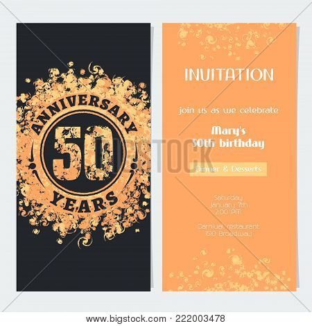 50 years anniversary invitation to celebration event vector illustration. Design element with gold color number and text for 50th birthday card, party invite