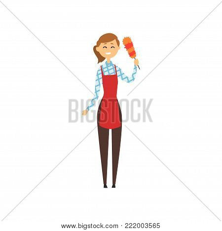 Hotel maid standing and holding dust brush. Domestic worker in red apron, checkered blouse, brown pants and rubber gloves. Cleaning service concept. Flat vector design isolated on white background.