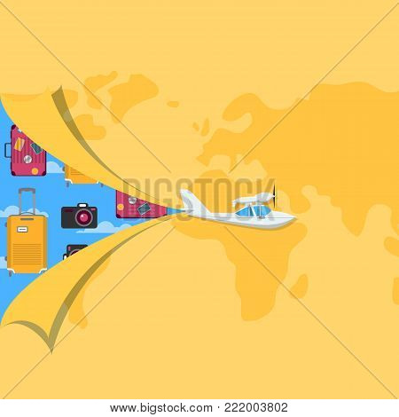 Air traveling poster for private airline advertising. Small propeller hydroplane on background of world map. Comfortable air transportation banner with side view screw aircraft vector illustration.