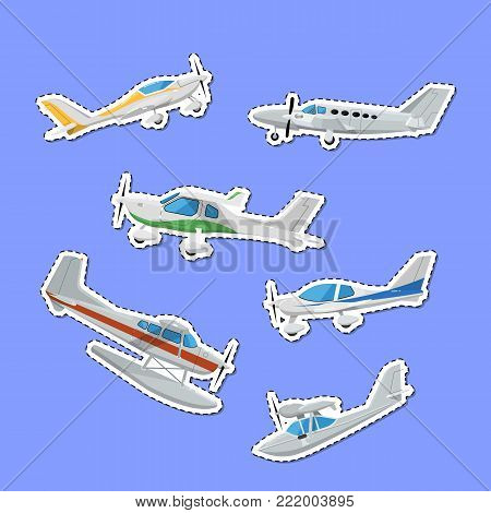 Propeller airplanes isolated labels. Private turbo propeller aircraft, passenger plane, hydroplane, speedy sport aeroplane, flying boat. Side view screw aircraft, small aviation vector illustration.
