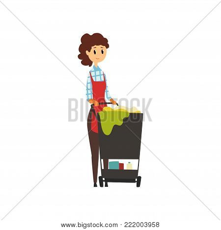 Woman worker standing near trolley with cleaning tools. Maid service concept. Hotel housekeeper. Young girl in uniform. Professional at work. Flat vector illustration isolated on white background.