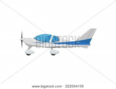 Speedy sport propeller airplane icon. Side view screw aircraft, passenger plane isolated on white background vector illustration.