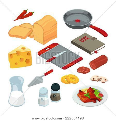Vector illustrations of different foods and kitchen tools for cooking. Kitchen food and kitchenware cook