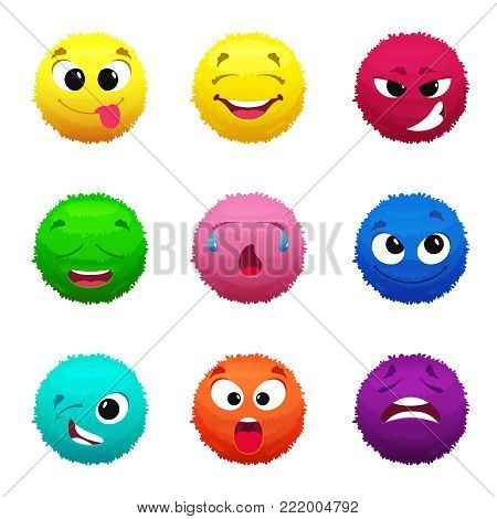 Funny furry faces of monsters. Puffy balls of different colors. Hair fur ball face, creative fluffy monster sphere, vector illustration