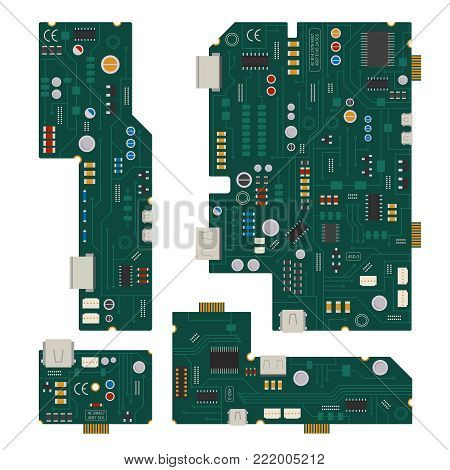 Electronic circuit. Computer mother board with diodes and other components. Computer computer and circuit mother board, vector illustration