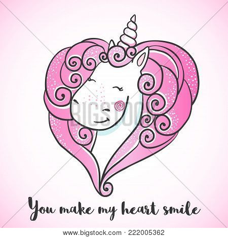 Greeting card with Cute Unicorn with mane in the shape of a heart . Valentine's day postcard. Love concept. Vector illustration.