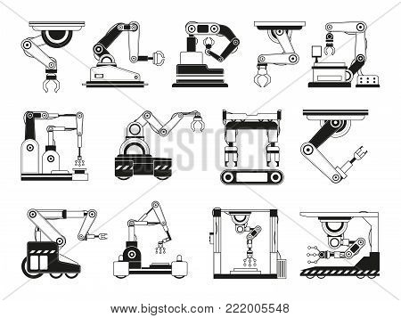 Robotic hands for manufacturing industry. Monochrome pictures robot equipment industrial for production. Vector illustration