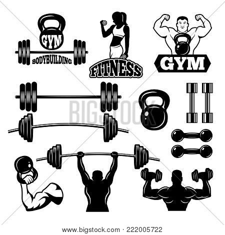 Badges and labels for gym and fitness club. Sport symbols in monochrome style. Sport gym club emblem and logo, badge and label with barbell for bodybuilding. Vector illustration