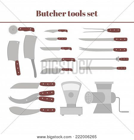 Butchery equipment big set. Flat butcher shop design elements and tools icons. Meat cutting items
