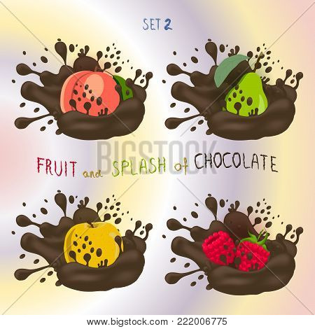 Vector icon logo for fruit apple, peach, pear, raspberry, splash of drop brown chocolate. Pear pattern of splashes drip flow Chocolate. Eat fruits apples, peaches, pears, raspberries in chocolates.